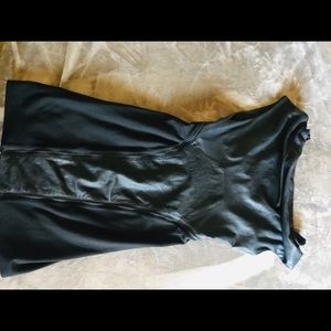 HELMUT LANG body con leather zip pannel dress